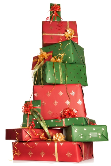 Stacked christmas gifts